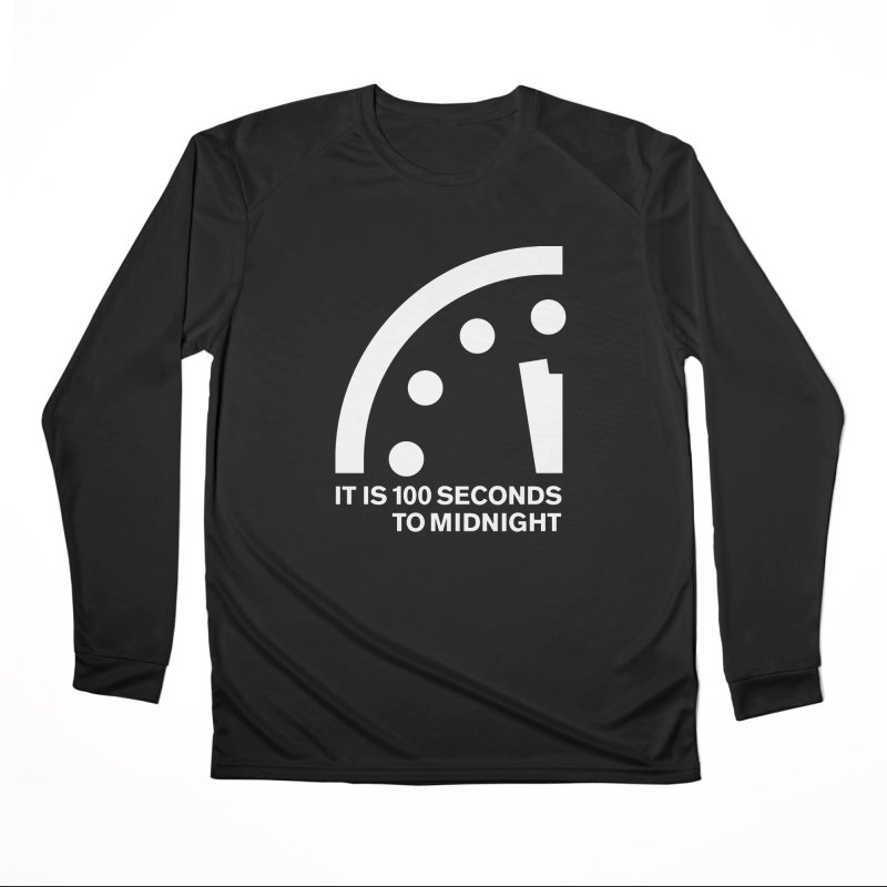100 Tagline Clock White Women's Longsleeve T-Shirt by Bulletin of the Atomic Scientists' Artist Shop