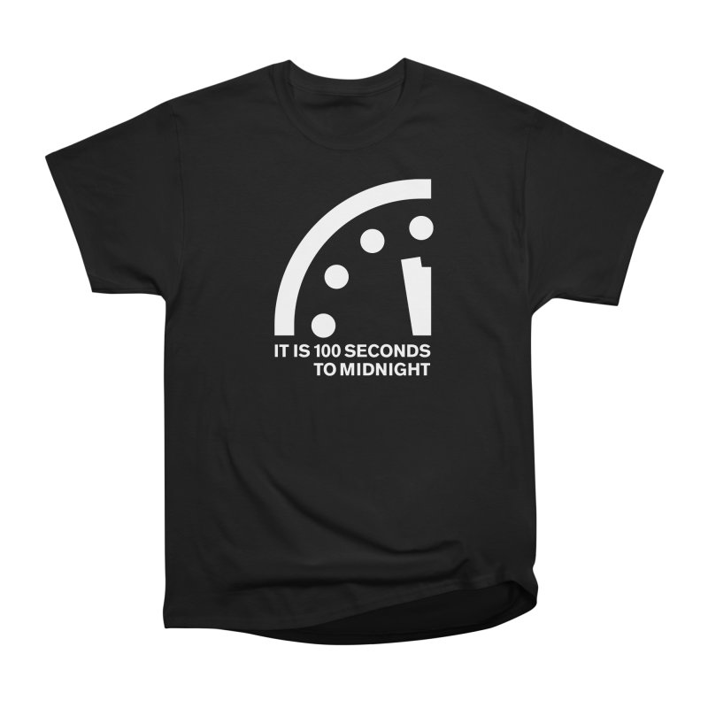 100 Tagline Clock White Men's T-Shirt by Bulletin of the Atomic Scientists' Artist Shop