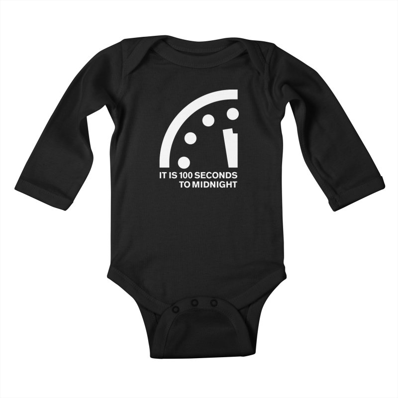 100 Tagline Clock White Kids Baby Longsleeve Bodysuit by Bulletin of the Atomic Scientists' Artist Shop