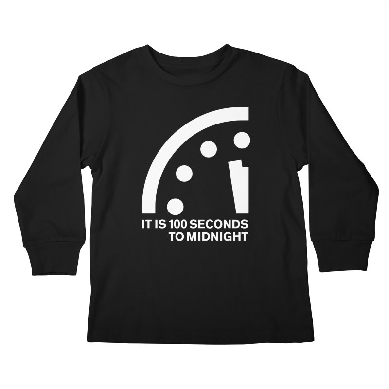 100 Tagline Clock White Kids Longsleeve T-Shirt by Bulletin of the Atomic Scientists' Artist Shop