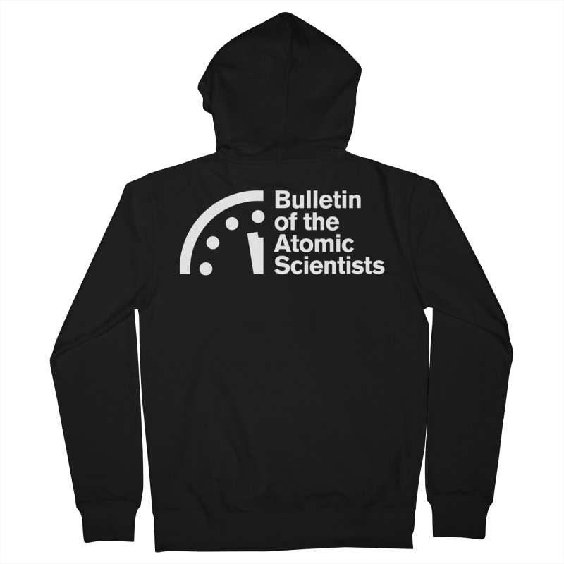 Bulletin of the Atomic Scientists White Women's Zip-Up Hoody by Bulletin of the Atomic Scientists' Artist Shop