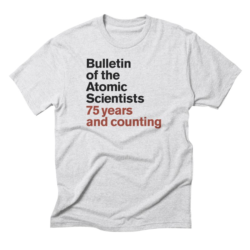 75 years and counting Men's T-Shirt by Bulletin of the Atomic Scientists' Artist Shop