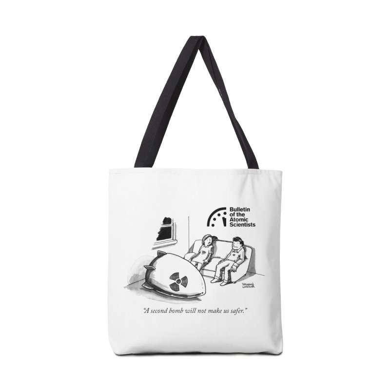 A second bomb by Shannon Wheeler Accessories Bag by Bulletin of the Atomic Scientists' Artist Shop