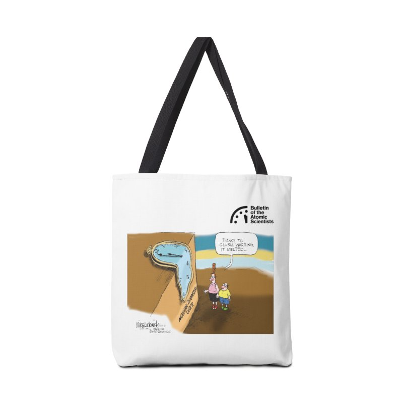 Melting Doomsday Clock by Mike Luckovich Accessories Bag by Bulletin of the Atomic Scientists' Artist Shop