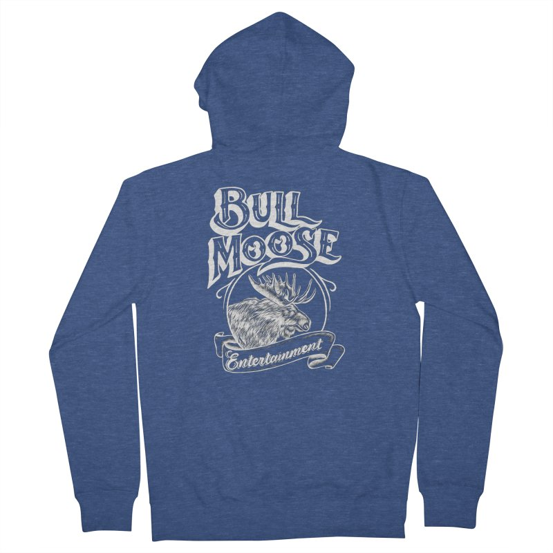 Bull Moose Logo - For Darks Men's French Terry Zip-Up Hoody by thebullmoose's Artist Shop