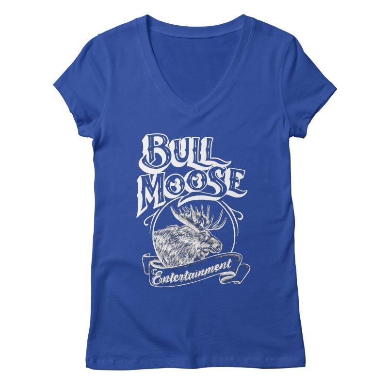 Bull Moose Logo - For Darks Women's Regular V-Neck by thebullmoose's Artist Shop