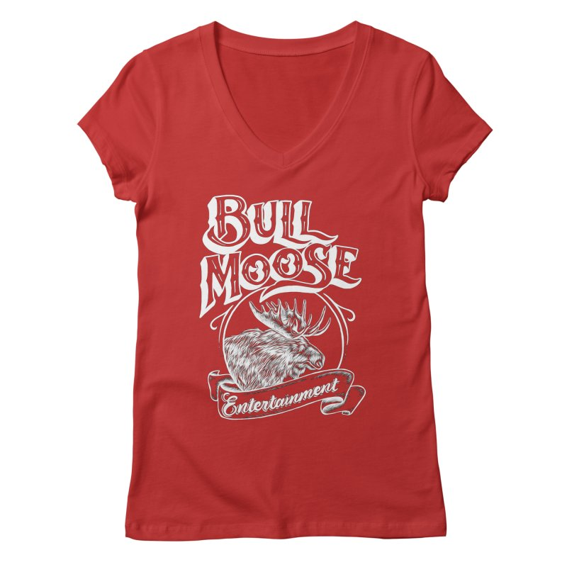 Bull Moose Logo - For Darks Women's Regular V-Neck by thebullmoose's Artist Shop