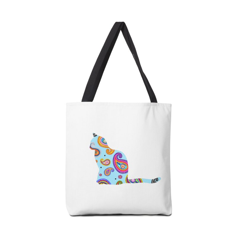 Purrfectly Paisley - Light Blue Accessories Bag by The Catnip Times Swag Shop