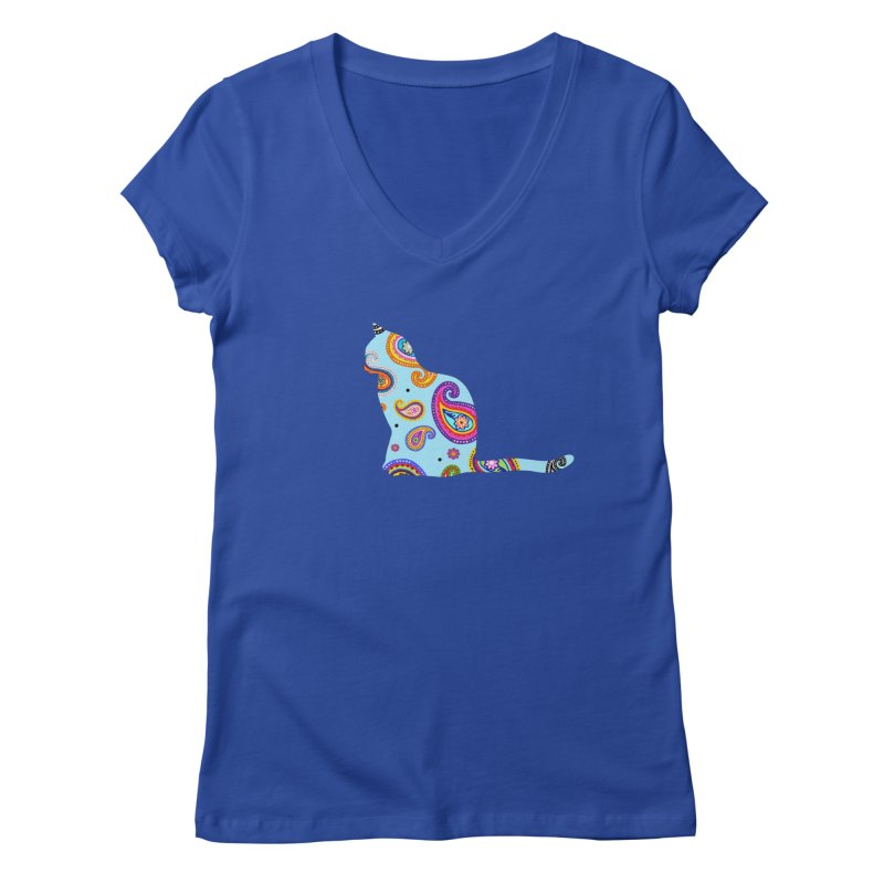 Purrfectly Paisley - Light Blue Women's V-Neck by The Catnip Times Swag Shop