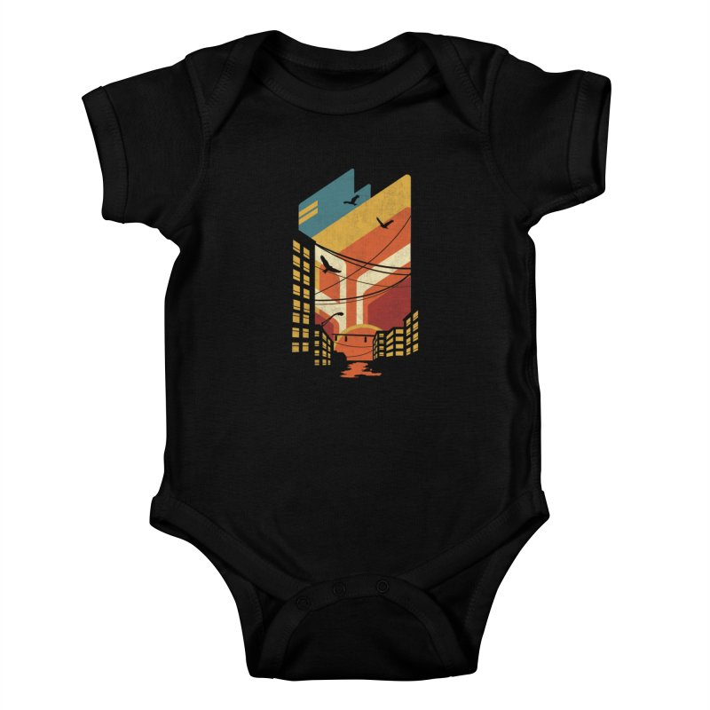 Setting Sun 1971 Kids Baby Bodysuit by The Child's Artist Shop