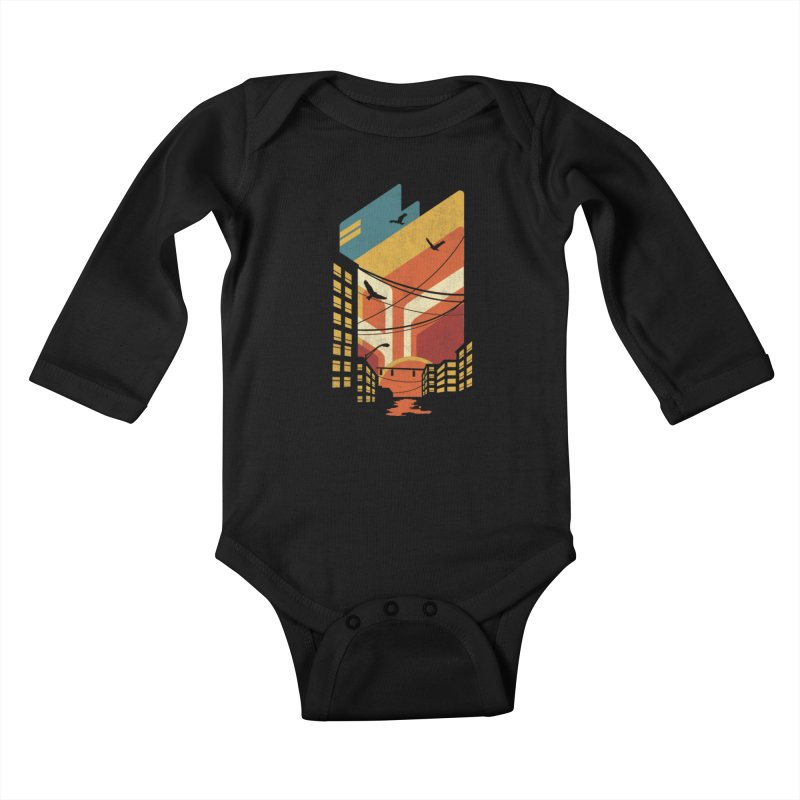 Setting Sun 1971 Kids Baby Longsleeve Bodysuit by The Child's Artist Shop