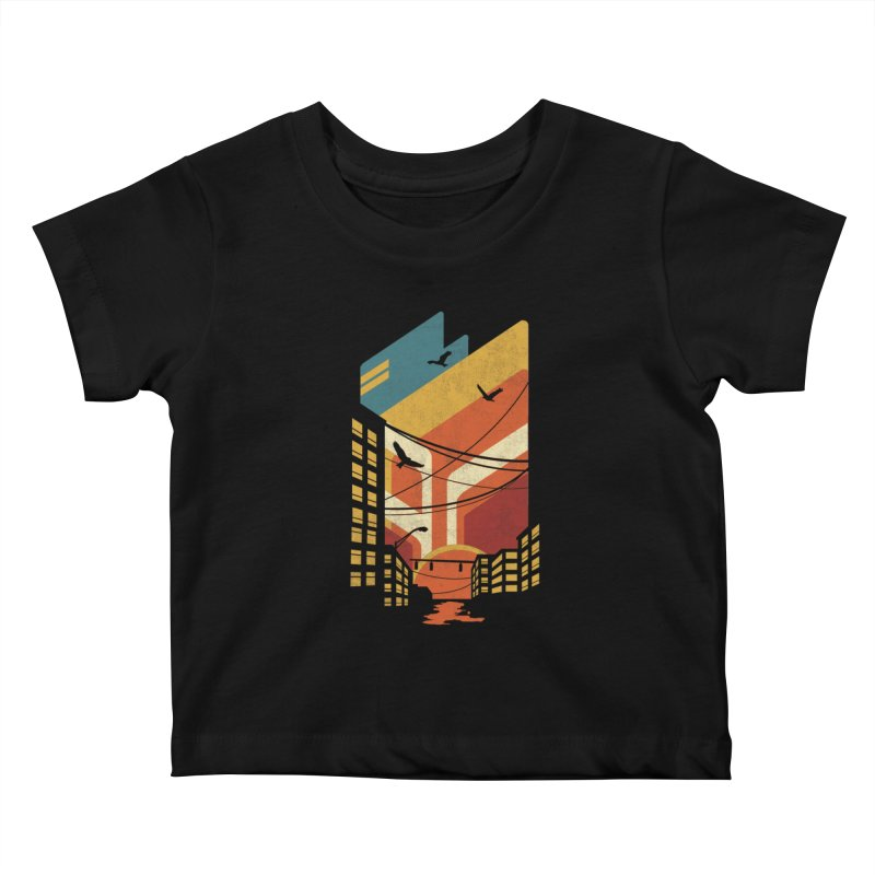 Setting Sun 1971 Kids Baby T-Shirt by The Child's Artist Shop