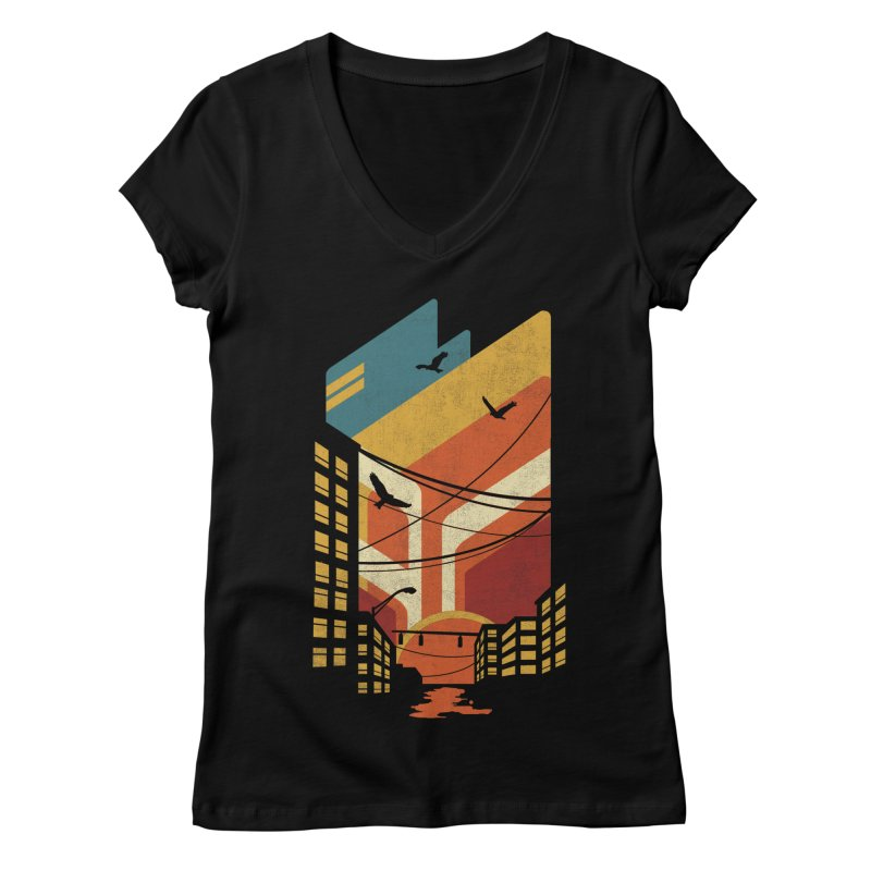 Setting Sun 1971 Women's Regular V-Neck by The Child's Artist Shop