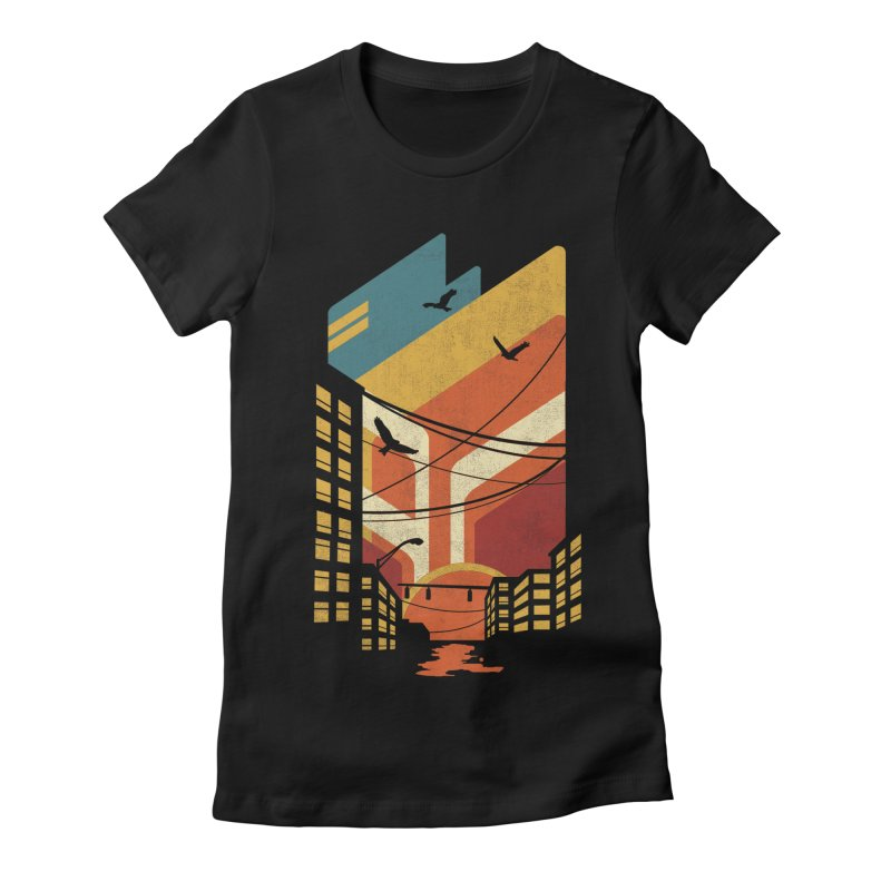 Setting Sun 1971 Women's Fitted T-Shirt by The Child's Artist Shop