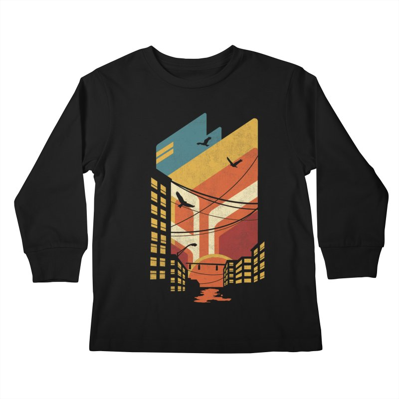 Setting Sun 1971 Kids Longsleeve T-Shirt by The Child's Artist Shop