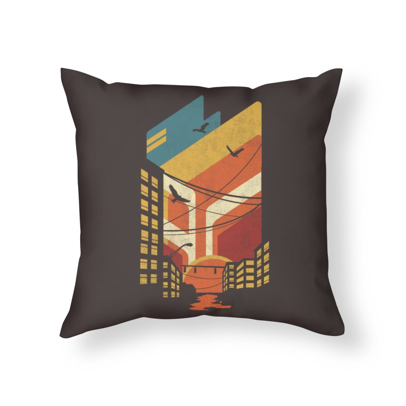 Setting Sun 1971 Home Throw Pillow by The Child's Artist Shop