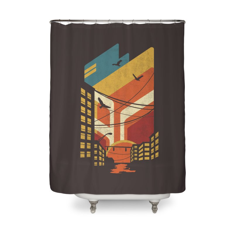 Setting Sun 1971 Home Shower Curtain by The Child's Artist Shop