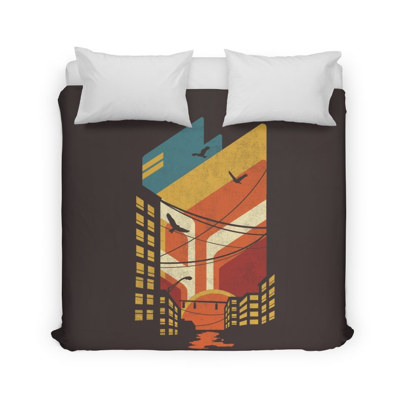 Setting Sun 1971 Home Duvet by The Child's Artist Shop