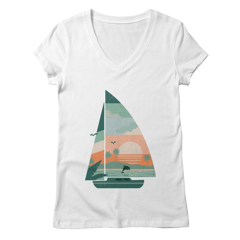 Set Sail Women's Regular V-Neck by The Child's Artist Shop
