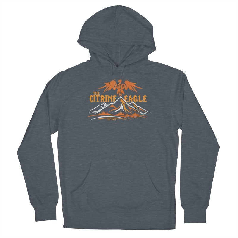 The Citrine Eagle - Mountain Collection I in Women's French Terry Pullover Hoody Heather Navy Denim by The Citrine Eagle Shop