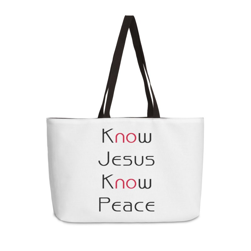 Know Jesus Accessories Weekender Bag Bag by theclearword's Artist Shop