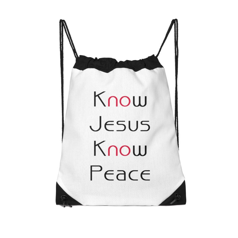 Know Jesus Accessories Drawstring Bag Bag by theclearword's Artist Shop
