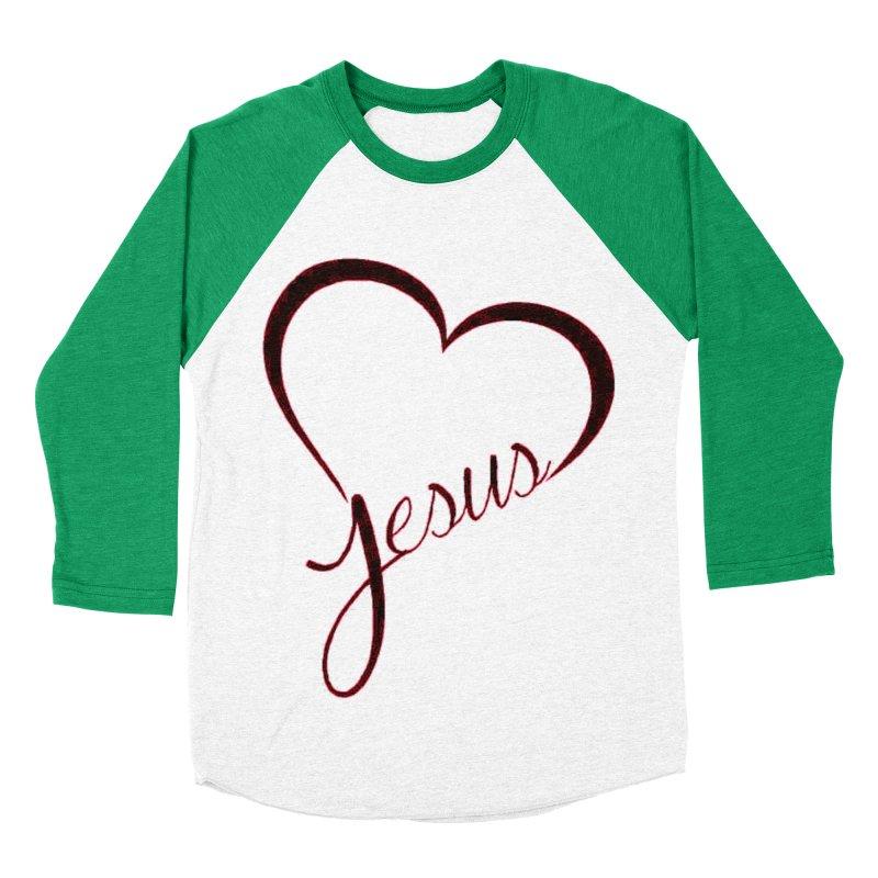 Heart Jesus Men's Baseball Triblend Longsleeve T-Shirt by theclearword's Artist Shop