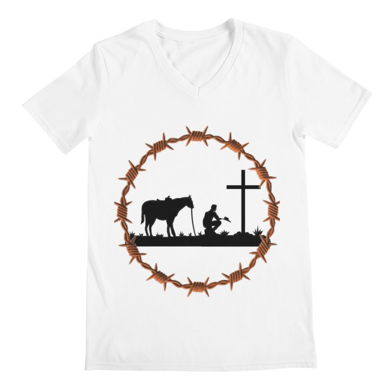 Cowboy Cross Men's Regular V-Neck by theclearword's Artist Shop