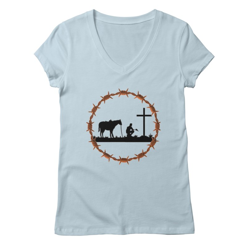 Cowboy Cross Women's V-Neck by theclearword's Artist Shop