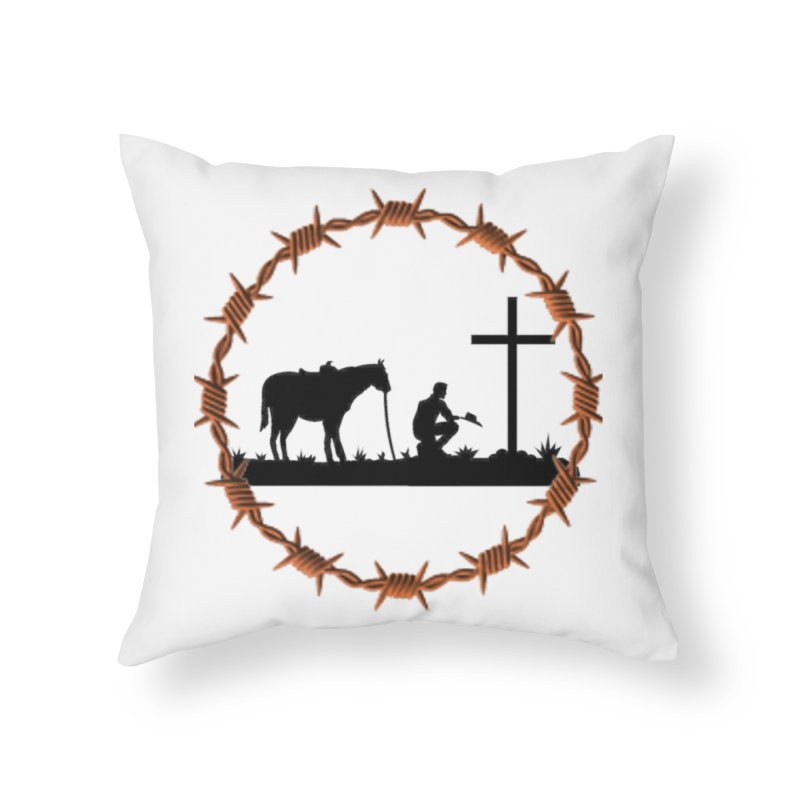 Cowboy Cross Home Throw Pillow by theclearword's Artist Shop