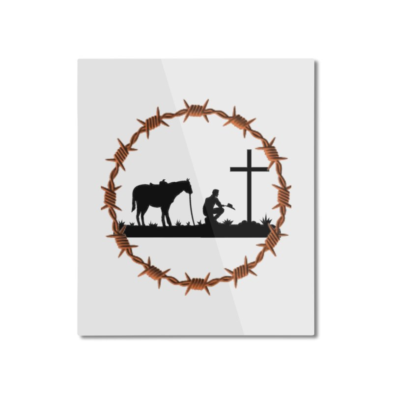 Cowboy Cross Home Mounted Aluminum Print by theclearword's Artist Shop