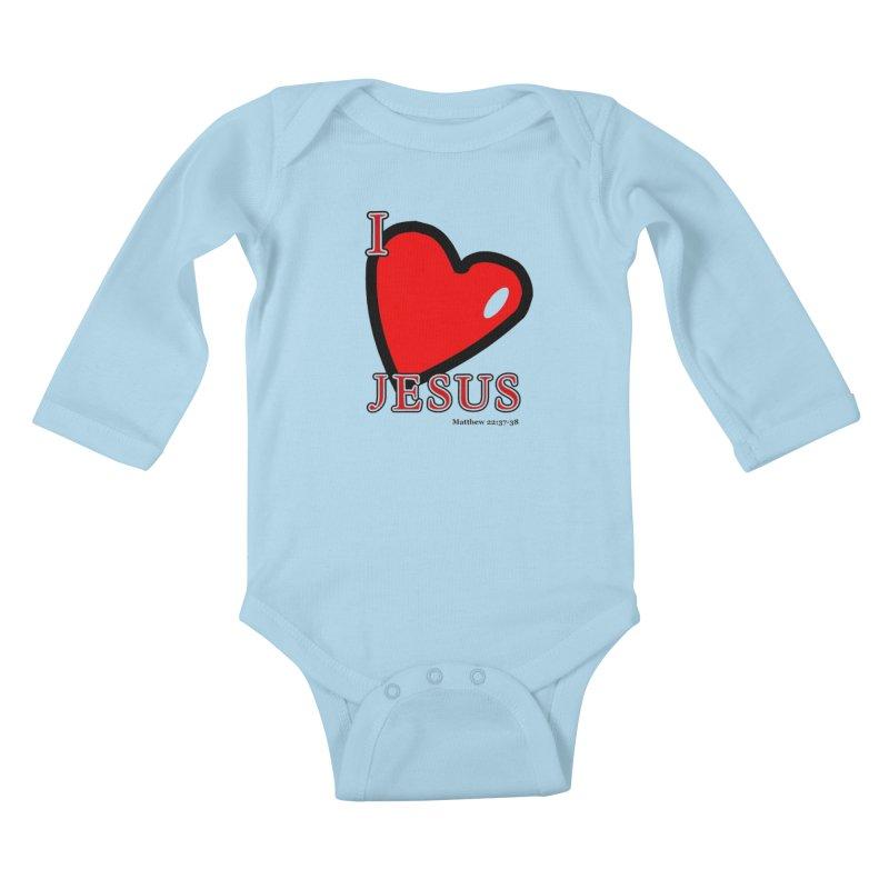 I love Jesus Kids Baby Longsleeve Bodysuit by theclearword's Artist Shop