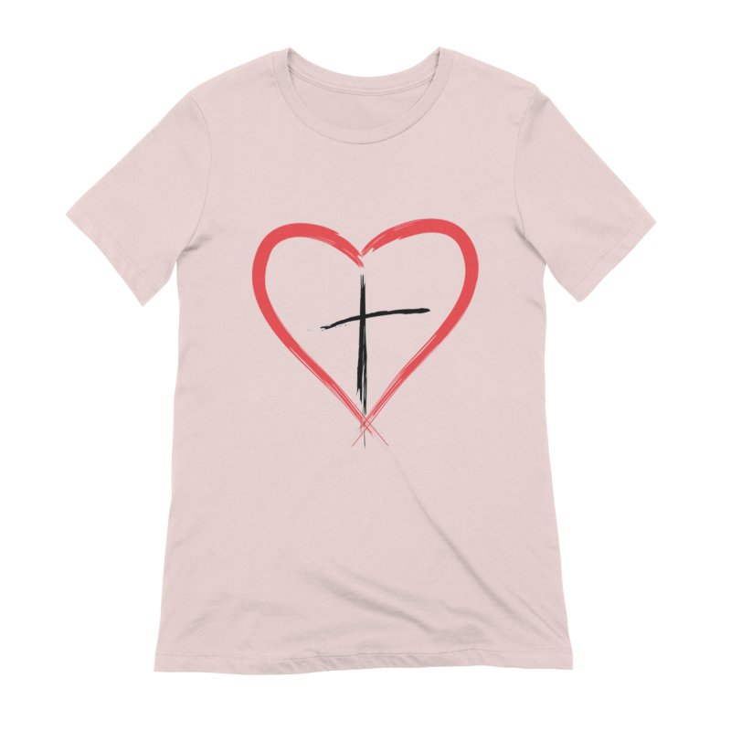 Heart and Cross Women's Extra Soft T-Shirt by theclearword's Artist Shop