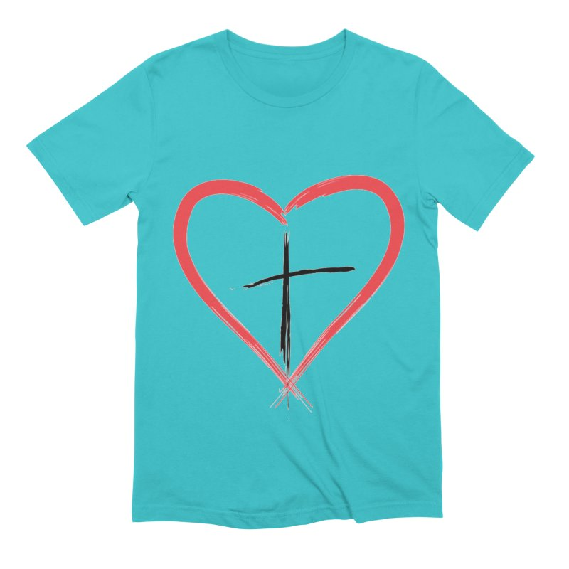 Heart and Cross Men's Extra Soft T-Shirt by theclearword's Artist Shop