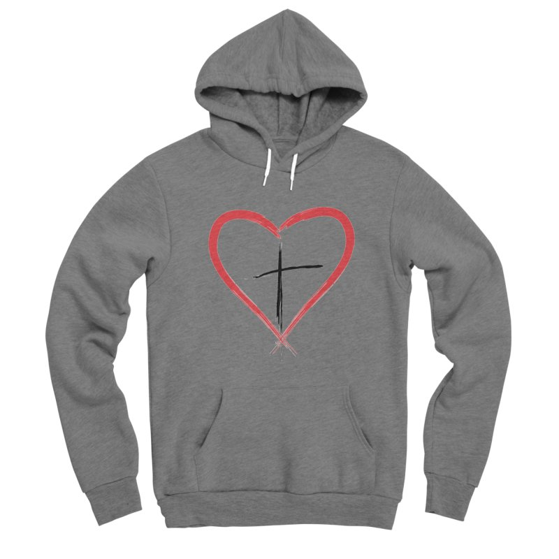 Heart and Cross Men's Pullover Hoody by theclearword's Artist Shop