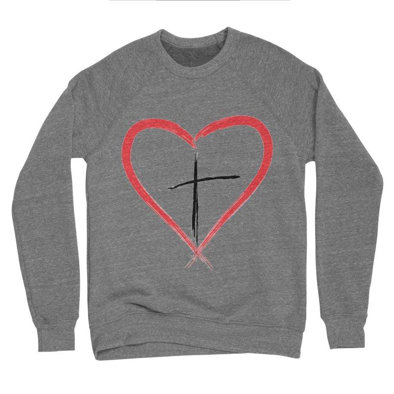 Heart and Cross Men's Sponge Fleece Sweatshirt by theclearword's Artist Shop