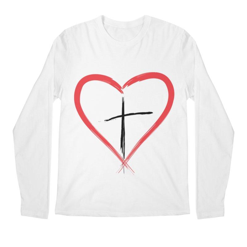 Heart and Cross Men's Regular Longsleeve T-Shirt by theclearword's Artist Shop