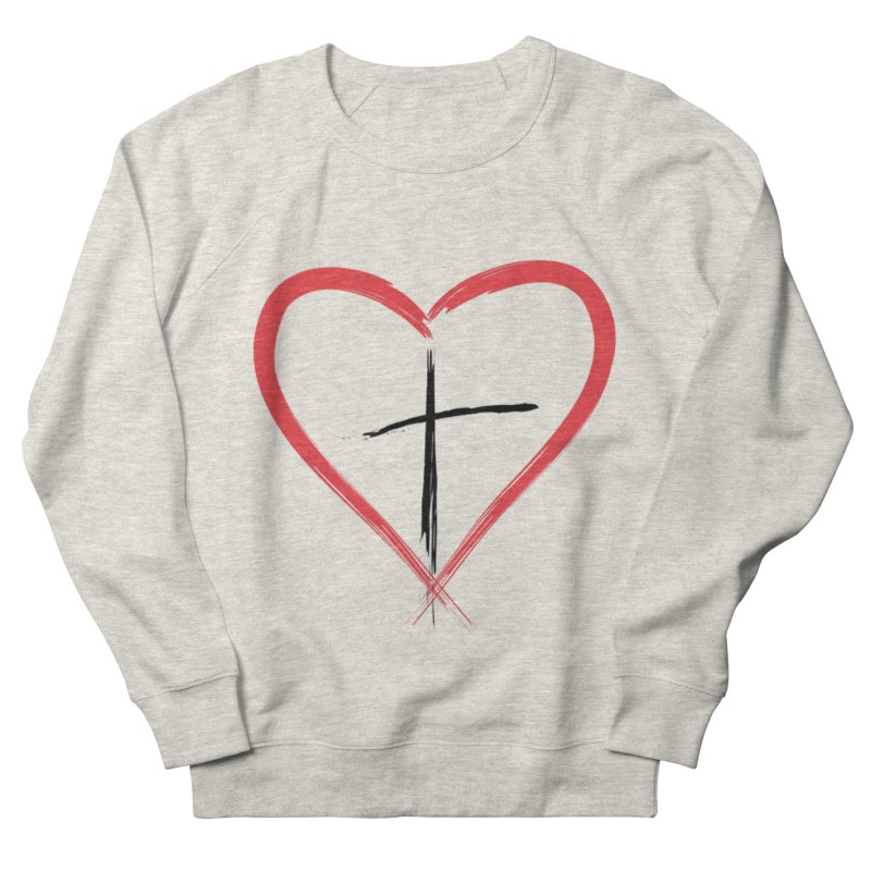 Heart and Cross Women's French Terry Sweatshirt by theclearword's Artist Shop