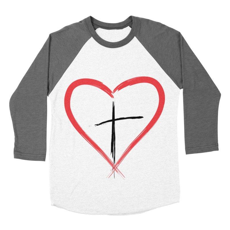 Heart and Cross Women's Baseball Triblend Longsleeve T-Shirt by theclearword's Artist Shop
