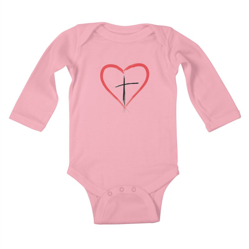 Heart and Cross Kids Baby Longsleeve Bodysuit by theclearword's Artist Shop