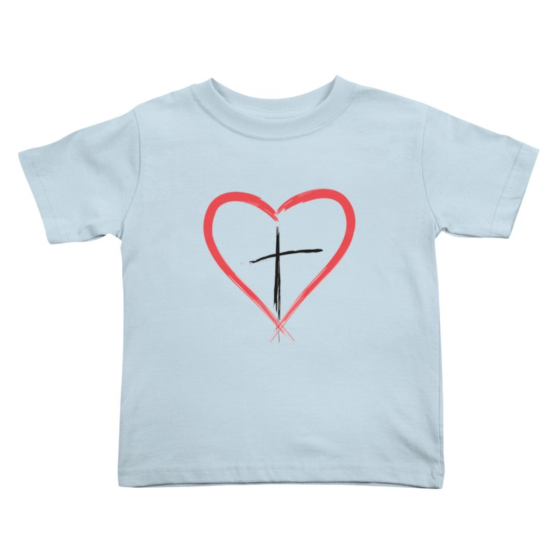 Heart and Cross Kids Toddler T-Shirt by theclearword's Artist Shop