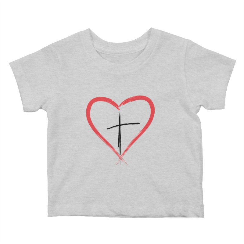 Heart and Cross Kids Baby T-Shirt by theclearword's Artist Shop