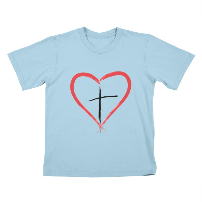 Heart and Cross Kids T-Shirt by theclearword's Artist Shop
