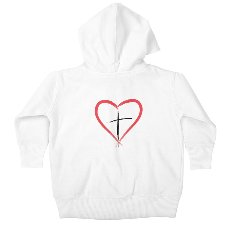 Heart and Cross Kids Baby Zip-Up Hoody by theclearword's Artist Shop
