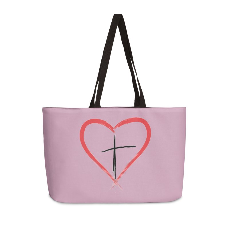 Heart and Cross Accessories Weekender Bag Bag by theclearword's Artist Shop