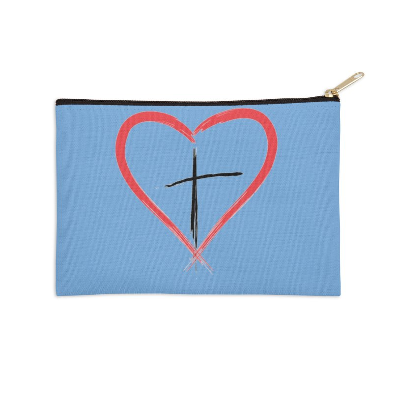 Heart and Cross Accessories Zip Pouch by theclearword's Artist Shop