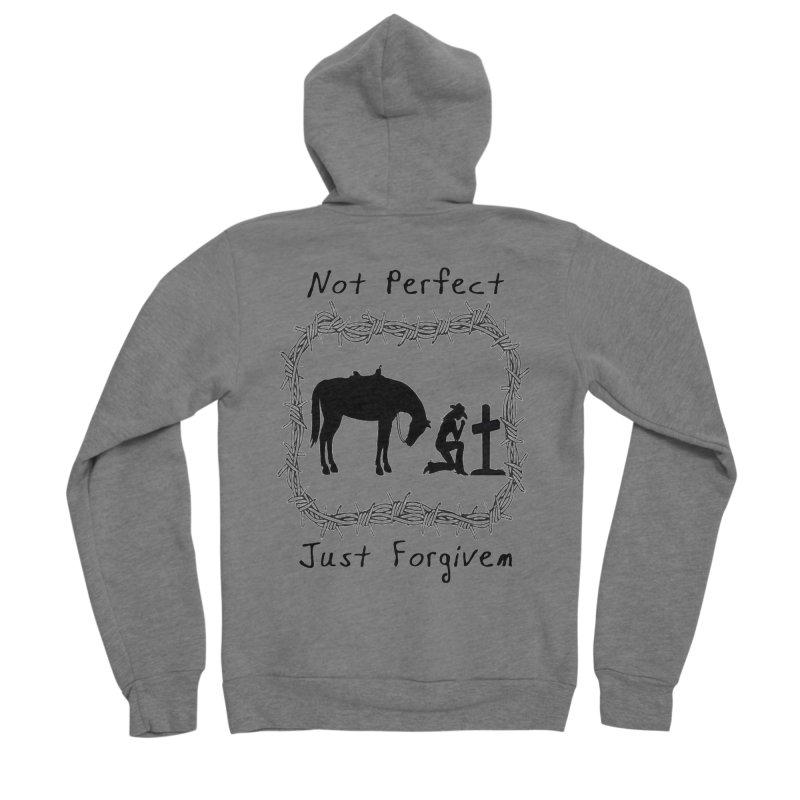Cowgirl not perfect w/ Horse Men's Zip-Up Hoody by theclearword's Artist Shop