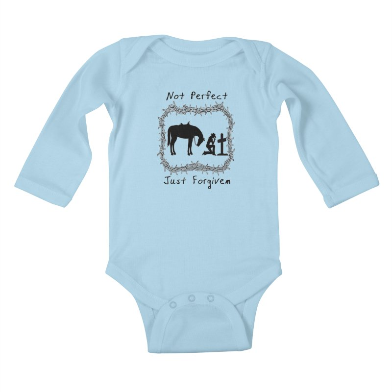 Cowgirl not perfect w/ Horse Kids Baby Longsleeve Bodysuit by theclearword's Artist Shop
