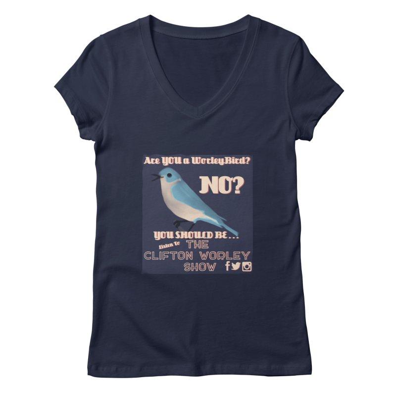 Worley Bird Women's V-Neck by thecliftonworleyshow's Artist Shop