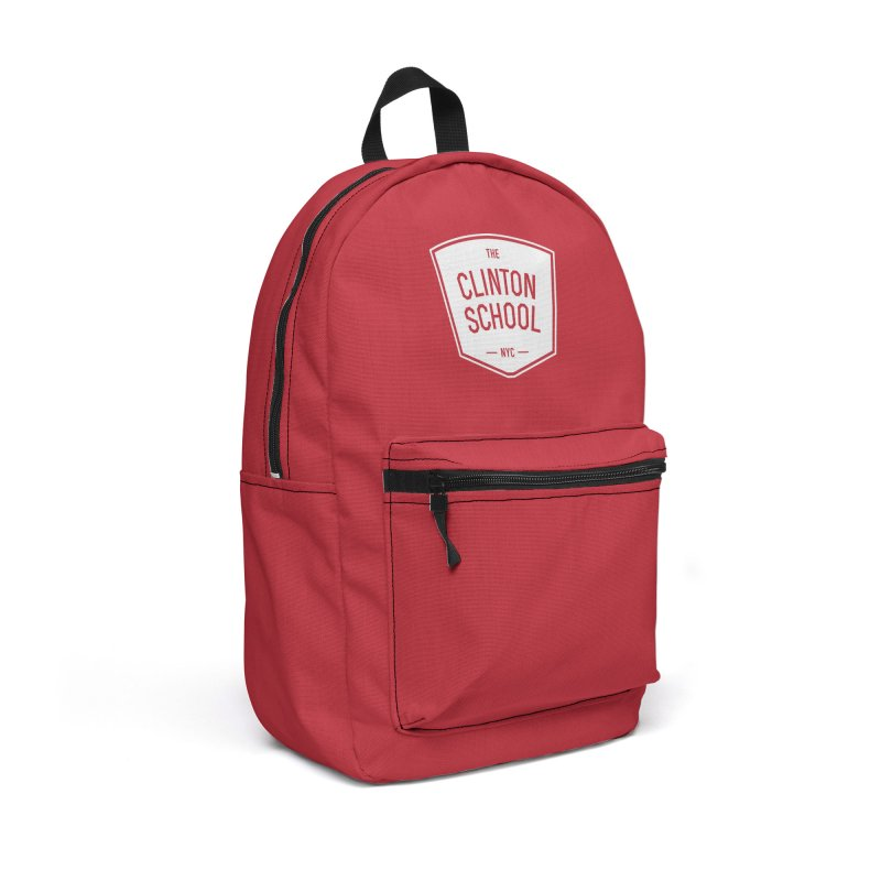White Clinton Logo on Red in Backpack by The Clinton School